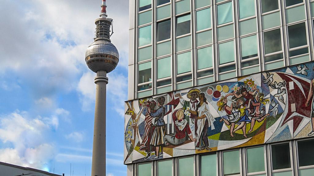 Mosaic Haus des Lehrers and TV Tower Berlin Alexanderplatz